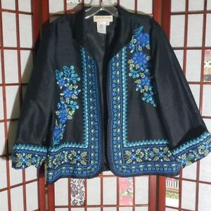 Norm Thompson embroidered open cardigan 100% silk